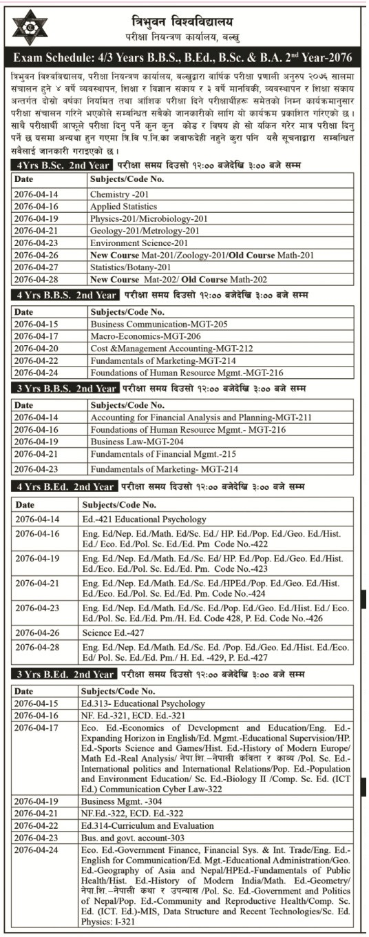 BA, BBS, B.Ed and B.Sc Second Year Examination Routine 2076