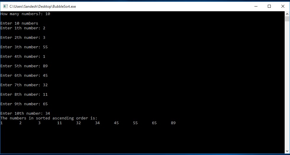 C Program to Implement BubbleSort with Function 1