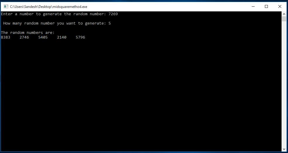 C Program to Generate Random Number Using Middle-Square Method 1