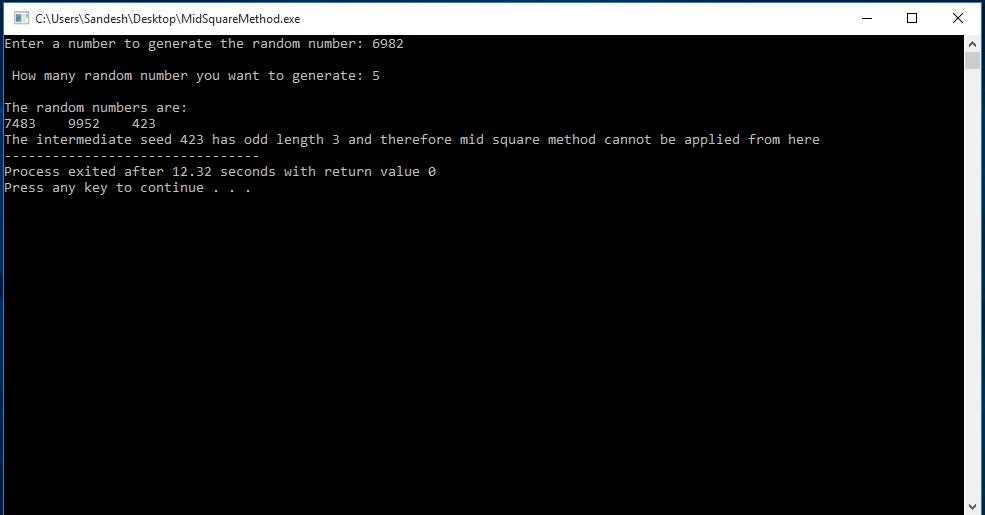 C Program to Generate Random Number Using Middle-Square Method 2