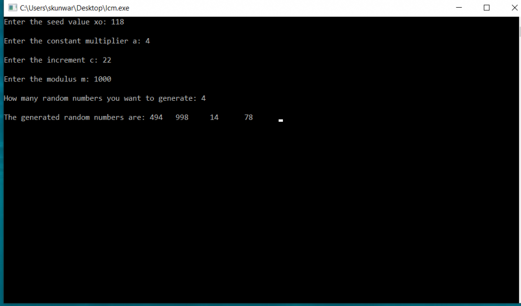 C Program To Generate Random Number Using Linear Congruential Method