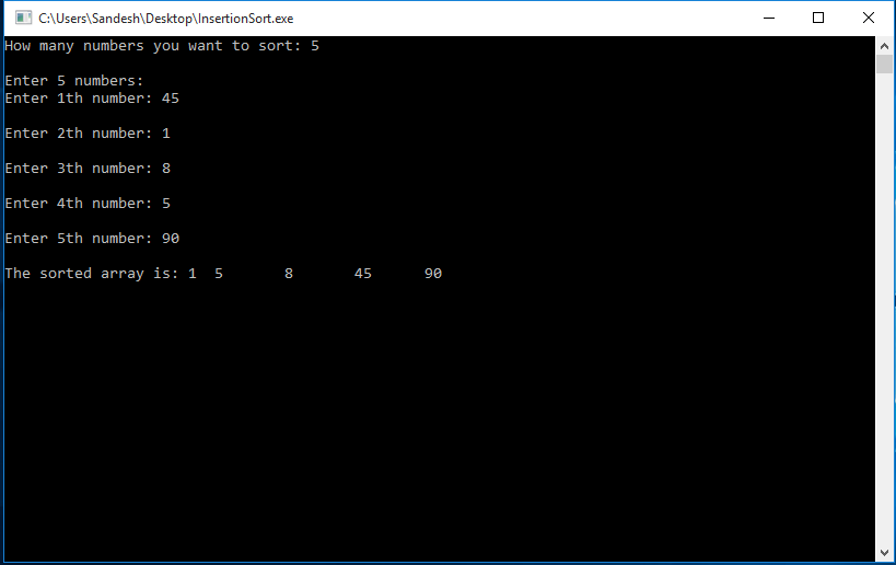 C Program to Implement Insertion Sort