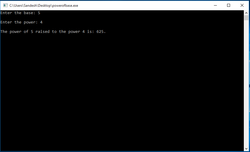 Recursive program to calculate the power of the base