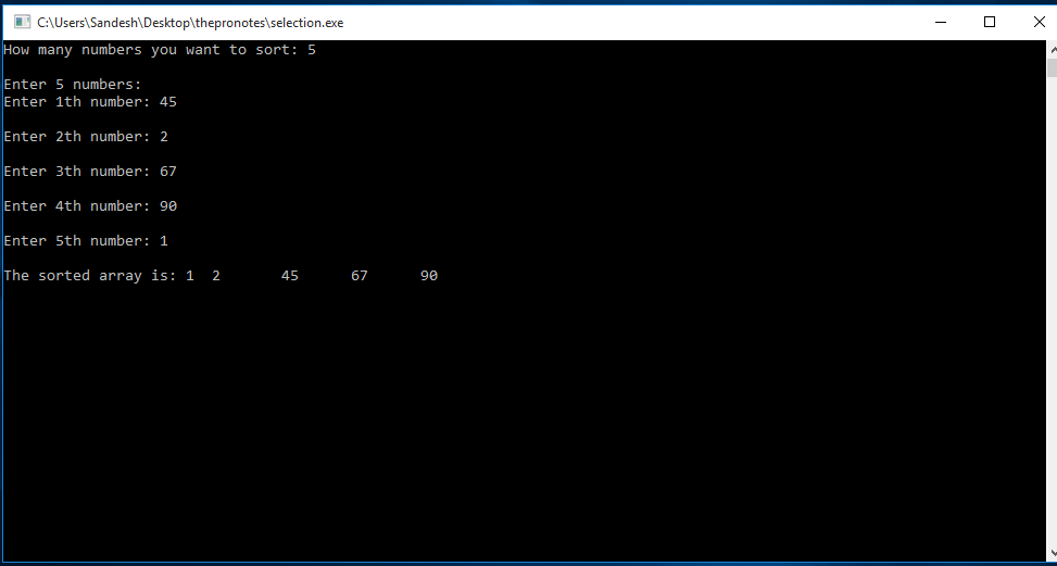 C Program to Implement Selection Sort 1