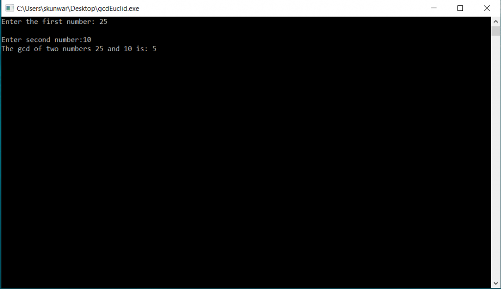 C Program to Find Gcd of Two Numbers using Iterative Euclid's Algorithm 3