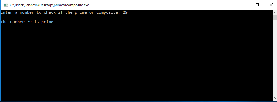 C Program to Check if a Number is Prime or Composite