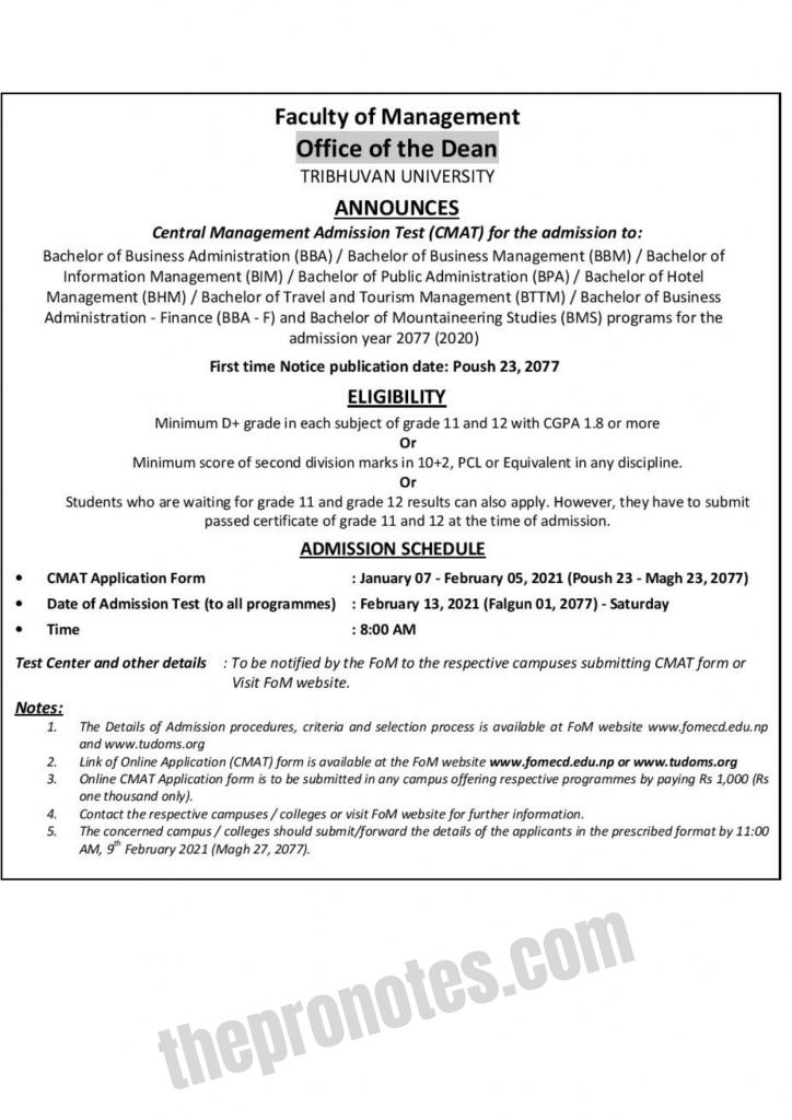 CMAT Notice For BBA, BBM, BIM, BPA, BHM, BMS, BBA-F & BTTM : FOMECD