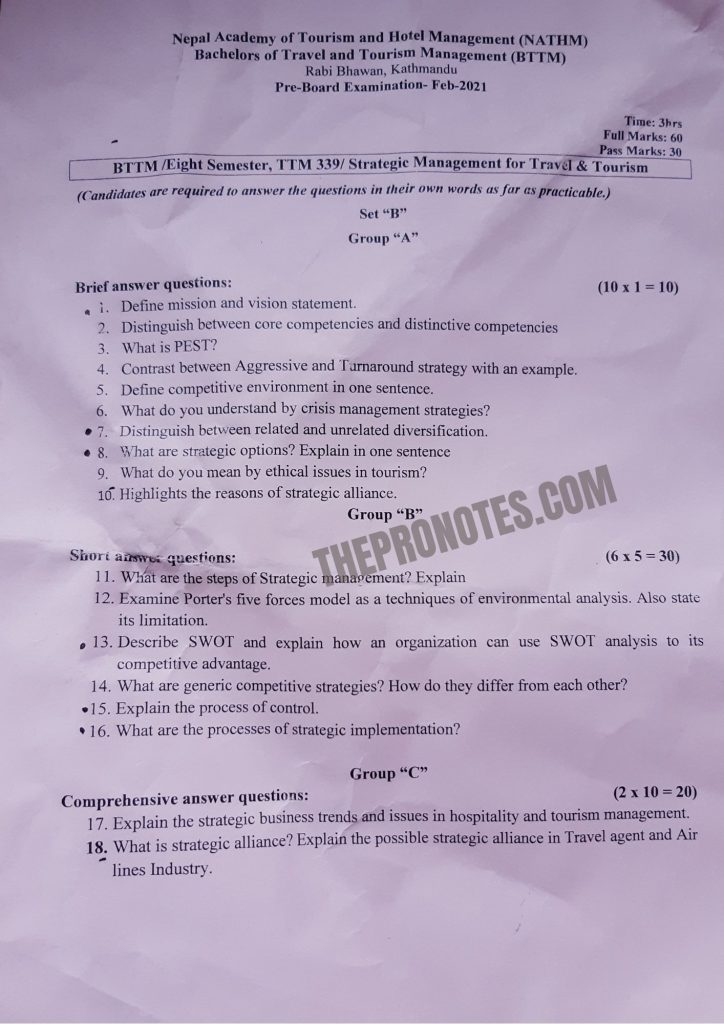BTTM Eighth Semester Old Question Paper Sets 1