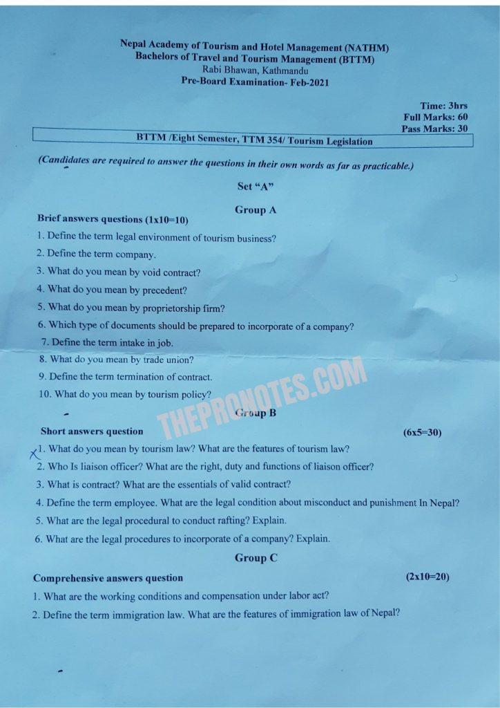 Tourism Legislation Old Question paper