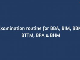 Exam routine for BBA, BIM, BBM, BTTM, BPA & BHM